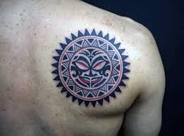 Masculine Tribal Sun Mens Shoulder Blade Tattoo