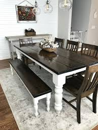 Farmhouse Dining Table Set White And Chairs With Modern Rustic Style Sale