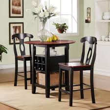small high top round kitchen table with rattan basket storage and