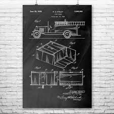 Fire Truck Poster Print | Firefighting Wall Art | Patent Earth