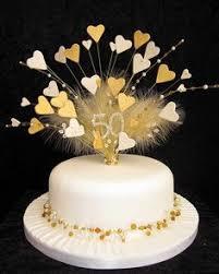 50th Golden Wedding Anniversary Cake Topper