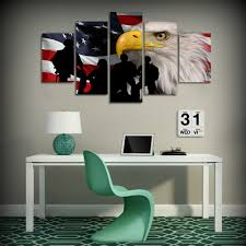 5 Piece Canvas Art Rustic USA Flag Printed Wall Home Decor Painting Picture Poster And Prints Free Shipping HA008C In Calligraphy From