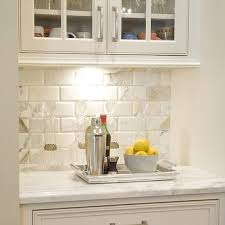 beveled marble subway tiles transitional kitchen bean