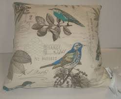 NEWPORT Designer Throw Pillow Vintage Style Birds Postage Paris NY
