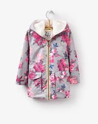 raindrop grey bloom waterproof coat joules uk kids raingear