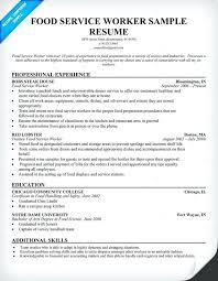 Food Service Resume Samples Sample Resumes Worker