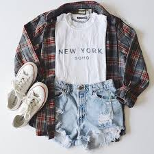 Casual Clothes Converse Fashion Flannel Flannels Grunge High Waisted