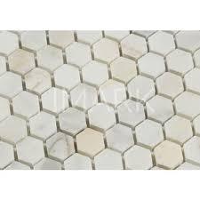 1x1 Polished Calacatta Gold Marble Hexagon Mosaic Wall Tile