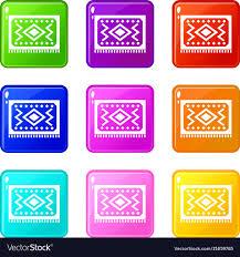 Turkish Carpet Icons 9 Set Vector Image