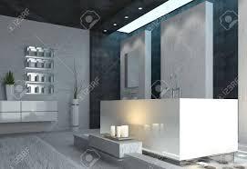 luxus badezimmer interieur mit brennenden kerzen und grau schwarz und weiß moderne einrichtung in einer romantischen umgebung zu hause