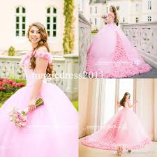 pink off shoulder quinceanera dresses 2017 3d rose flowers puffy