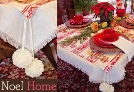 Noel Home Tablecloth Set Fringed Underlay With Pom Overlay