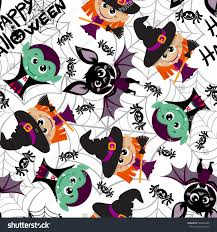Characters For Halloween by Seamless Pattern Characters Halloween Cartoon Style Stock Vector