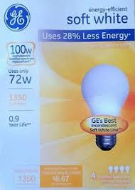 12 ge 72 watt 100 watt output soft white a19 medium base light