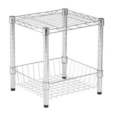 honey can do commercial metal table with basket in black shf 02216