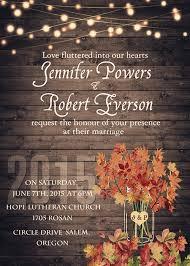 Rustic Wooden String Light Mason Jar Fall Wedding Invite EWI395 2