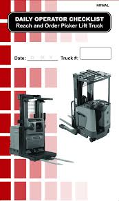 Checklist Caddy Re-fill Pack – Liftow Toyota Forklift Dealer & Lift ... Hss Reach Trucks For Every Occasion And Application Cat Standon Truck Nrs9ca United Equipment Reach Truck 2030 Ton Pt Kharisma Esa Unggul Pantograph Double Deep Nr23 Forklift Hire Linde Series 1120 R14r20 Electric 15t 18t 5series Doosan Forklifts Raymond Stand Up Doubledeep Narrow Aisles Rd 5700 Reach Truck Electric Handling Ritm Industryritm Industry Trucks China Manup Bt Vce 150a Year 2012 Serial Number