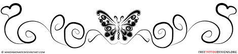Swirly Butterfly Tattoo Design For The Lower Back