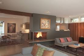 Fireplace Accent Wall Ideas Living Room Midcentury With Open Floor Plan Sleeper Sofa Oriental Rug