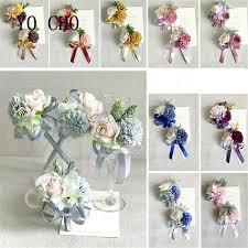 YO CHO Delicate Ribbon Daisy Corsage Flowers Rose Groom Suit Men Boutonniere Wedding Accessories Decor