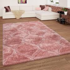 shaggy teppich hochflor wellen muster rosa pink mirai