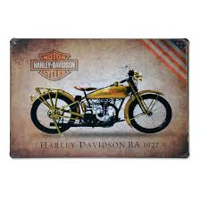 Vintage Metal Tin Sign Motorcycle Harley Davidson BA 1927 Retro Plaque Poster Bar Pub Club Wall