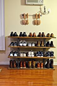 This Four Tier Industrial Style Shoe Rack Made From Solid Wood And Steel Pipe Provides A Beautiful Simple Storage To Display Your Catered