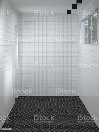 saubere weiße wand moderne badezimmer dusche dekoration interieur wohndesign 3d rendering leeren raum wartet stockfoto und mehr bilder architektur