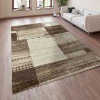 tapis moderne élégant salon délavée kurzflor beige noir 5