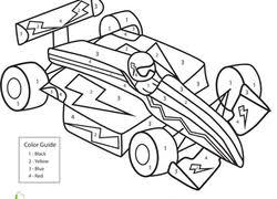 Kindergarten Math Worksheet Color By Number Race Car
