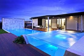 Outdoor Swimming Pool With Glass Concept Modern