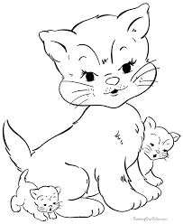 Baby Kitten Coloring Pages Cat Color Printable Free