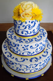 3 Tier blue and yellow buttercream wedding cake