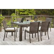 Outdoor Bench Cushions Home Depot by Hampton Bay Beverly 7 Piece Patio Dining Set With Beverly Beige