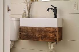 Ikea Canada Bathroom Medicine Cabinets by Diy Floating Reclaimed Wood Vanity With Ikea Sink Meets