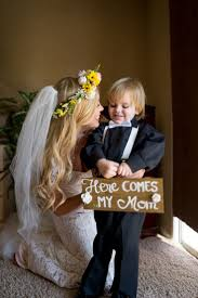 Including Your Children In The Wedding Ring Bearer Sign Mother And Son Photo
