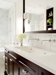Wall Mounted Faucet Bathroom by Brown Vanity Transitional Bathroom