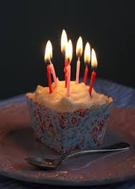 Birthday cupcake with candles