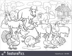 Animals Black And White Cartoon Illustration Of Country Scene With Farm Livestock Big Group