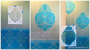 Stenciling The Annapakshi Stencil For Sari Inspired DIY Stenciled Door Via Paint Pattern
