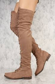 taupe front lace up round toe thigh high flat boots faux suede