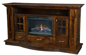Best Electric Fireplace With Solid Wood Rustic Tv Stand Cabinet Furniture