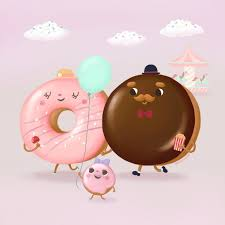 A very pink and cyan one and I ve also included clouds with sprinkles Mama donut with her candy apple and daddy with his popcorn