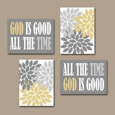 God Flowers Christian Wall Art Canvas Religious Decoration Square Printed Painting Home Hanging Grey White