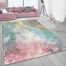 wohnzimmer teppich kurzflor grün rosa bunt pastellfarben