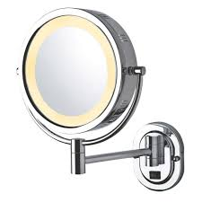 jerdon 14 in x 13 in lighted wall mirror in chrome hl165cd the