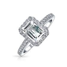 Emerald Cut Pave CZ 925 Silver Vintage Style Engagement Ring 15ct