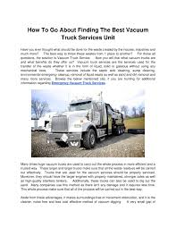 100 Vacuum Truck Services How To Go About Finding The Best Unitdoc