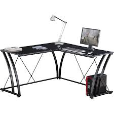 Black Glass Corner Computer Desk by Genuine Piranha Pelican Toughened Black Glass Corner Computer Desk