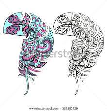 Zentangle Stylized Tribal Color And Monochrome Feathers For Coloring Books Adult Anti Stress Art